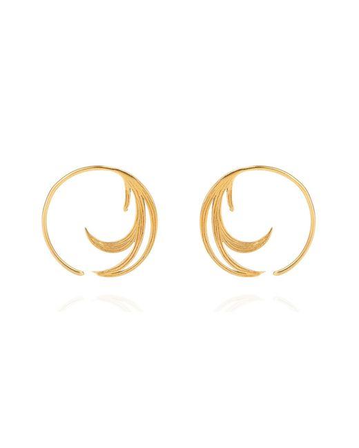 Lee Renee - Metallic Duck Feather Hoop Earrings Gold Vermeil - Lyst