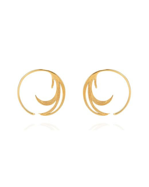 Lee Renee | Metallic Duck Feather Hoop Earrings Gold Vermeil | Lyst