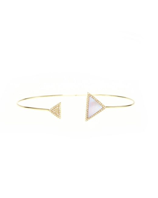 Ri Noor | Metallic Rose Mother Of Pearl Triangle Bangle | Lyst