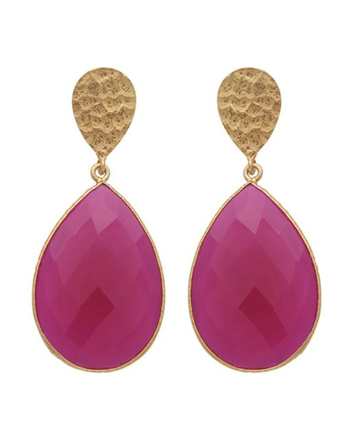Carousel Jewels - Metallic Double Drop Fuchsia Chalcedony & Gold Nugget Earrings - Lyst