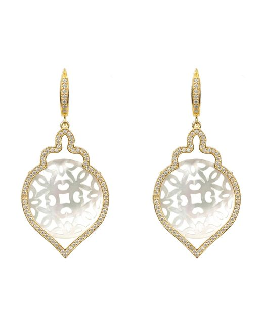 Latelita - Multicolor Gold Teardrop Carved Earring White Mother Of Pearl - Lyst
