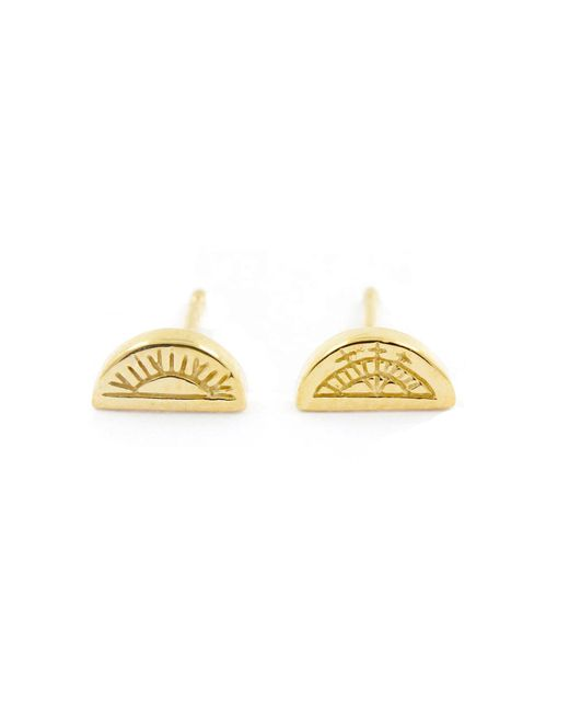 No 13 - Metallic Sun & Moon Half Circle Stud Earrings Gold - Lyst