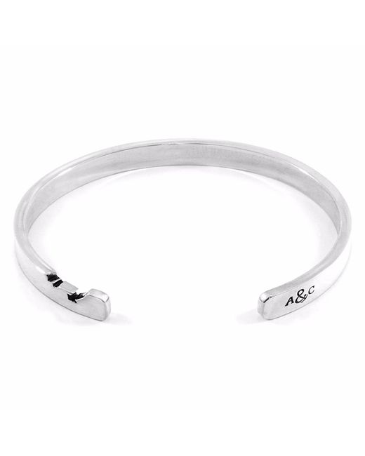 Anchor & Crew - Metallic Axton Anchor Cutout Silver Bangle for Men - Lyst