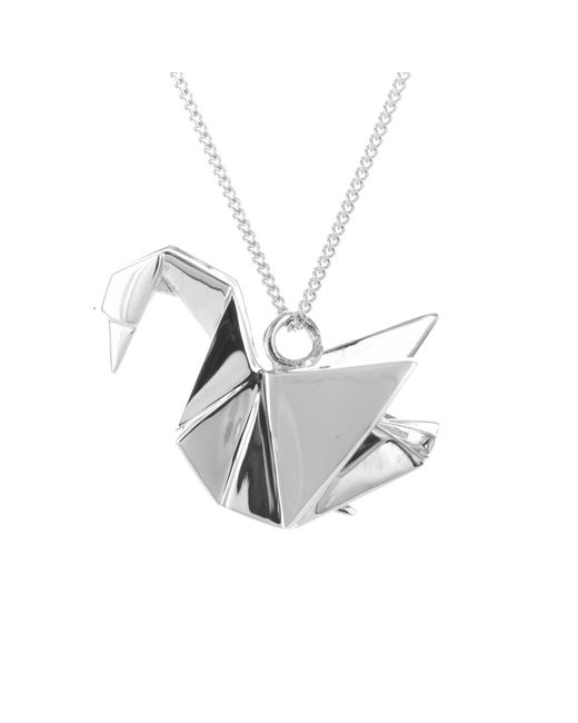 origami jewellery swan necklace silver in metallic lyst