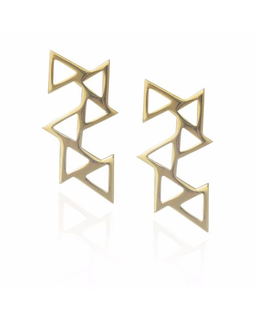 Sally Lane Jewellery - Metallic Ladder Of Life Gold Geometric Earrings - Lyst