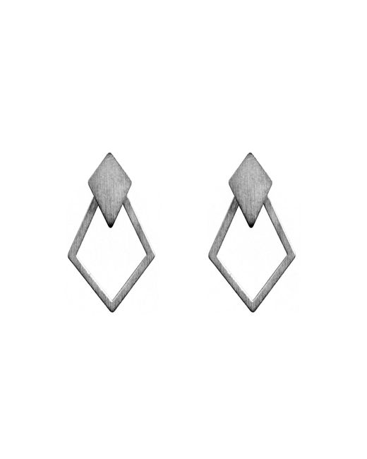 Dutch Basics - Gray Ruit Detachable Drop Earrings Oxidized Silver - Lyst