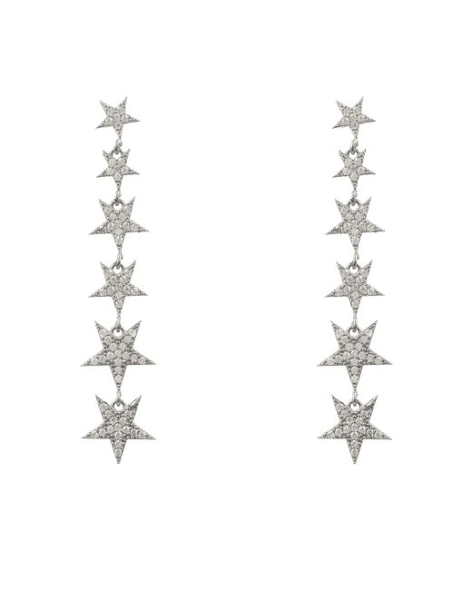 Latelita London - Metallic Graduated Star Drop Earring Sterling Silver - Lyst