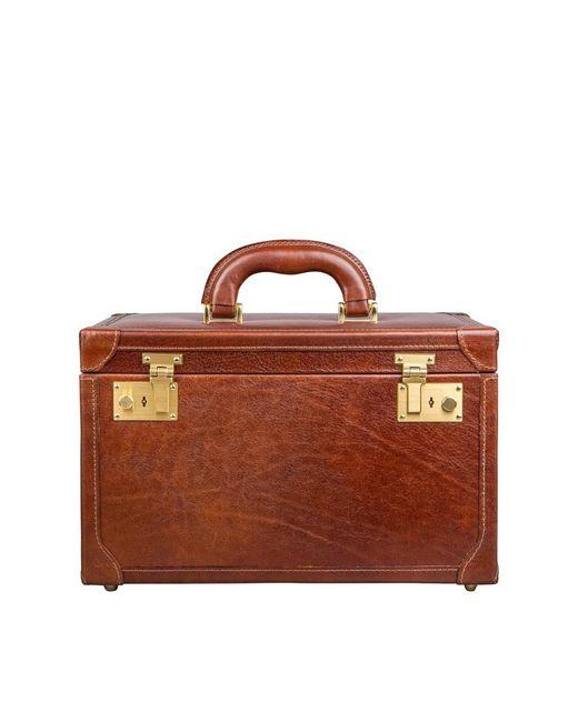 Maxwell Scott Bags | Brown Luxury Italian Leather Women's Vanity Case Bellino Classic Chestnut Tan | Lyst