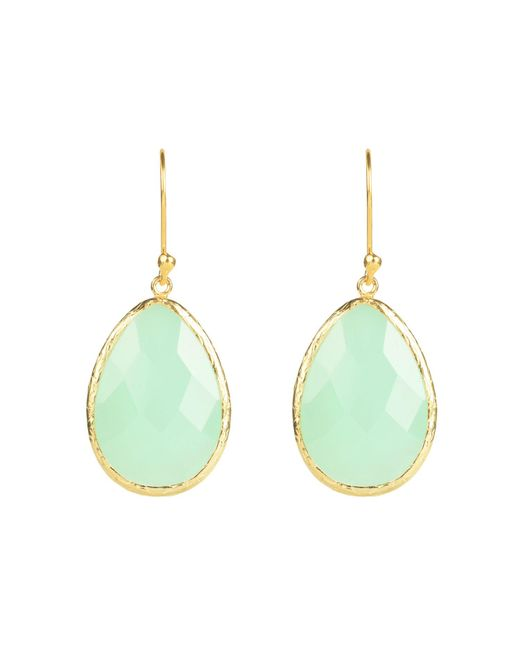 Latelita London - Green Single Drop Earring Gold Aqua Chalcedony - Lyst