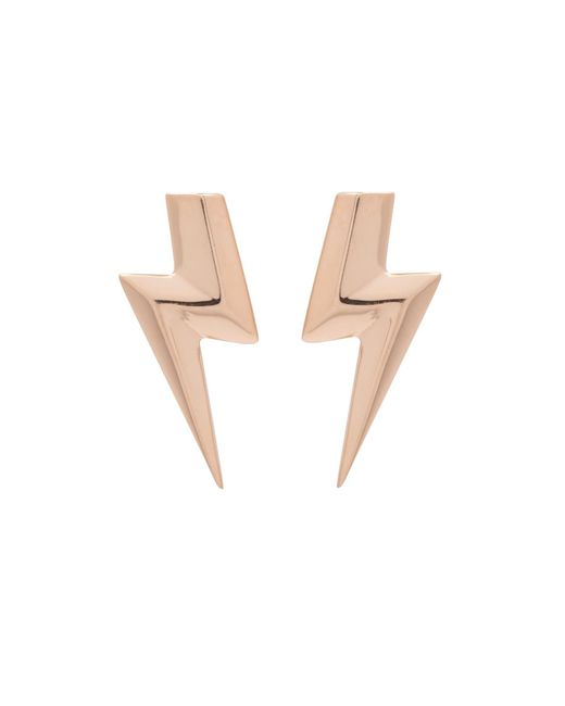 Edge Only - Metallic 3d Flat Top Lightning Bolt Earrings Gold - Lyst