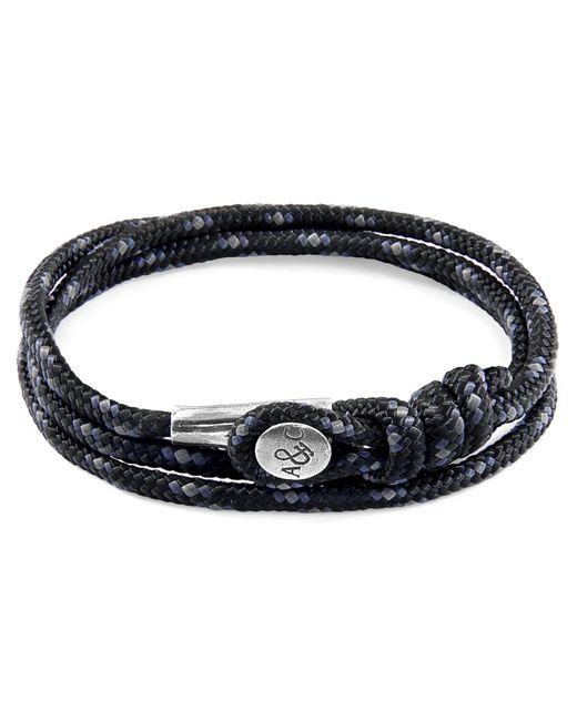 Anchor & Crew - Metallic Black Dundee Silver & Rope Bracelet for Men - Lyst