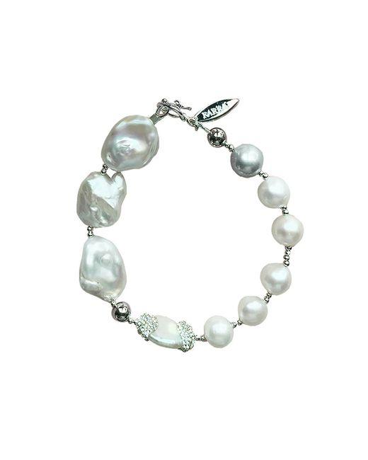 Farra White Freshwater Pearl Rhinestone Bracelet Lyst