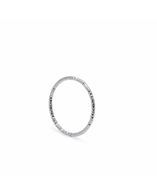 Myia Bonner - Metallic Silver Skinny Diamond Faceted Stacking Ring - Lyst