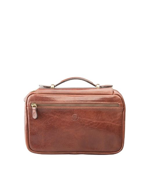 Maxwell Scott Bags | Brown Luxury Italian Leather Women's Zip Around Toiletry Bag Cascina Chestnut Tan | Lyst