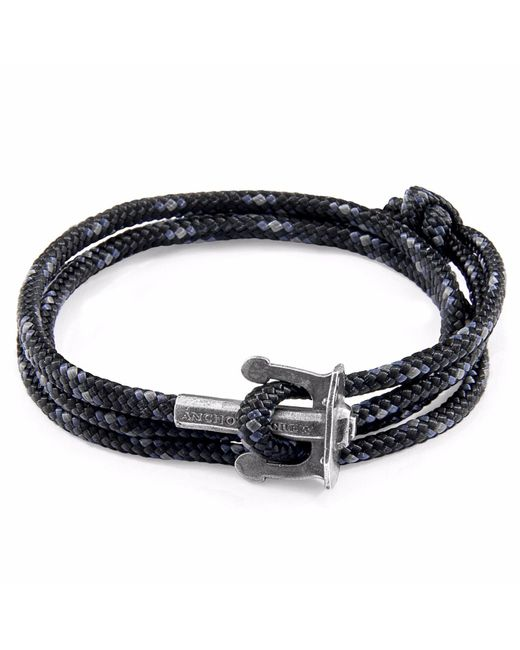 Anchor & Crew - Black Union Silver & Rope Bracelet for Men - Lyst