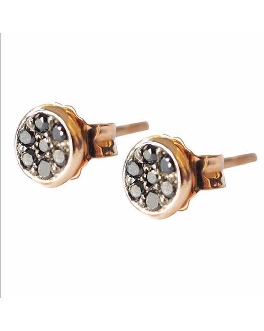 Sadekar Jewellery | Metallic Tiny Pave Earrings With Black Diamond | Lyst