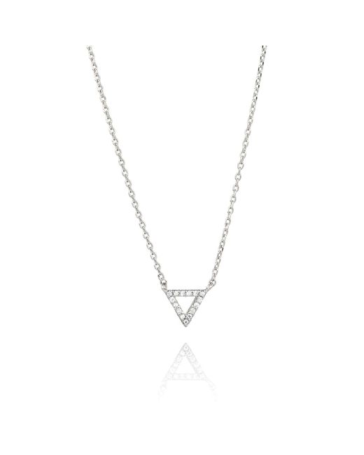 Astrid & Miyu - Metallic Tuxedo Triangle Necklace In Silver - Lyst