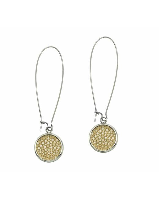 N'damus London - Metallic Silverdale Cream Stingray Leather & Steel Drop Earrings - Lyst
