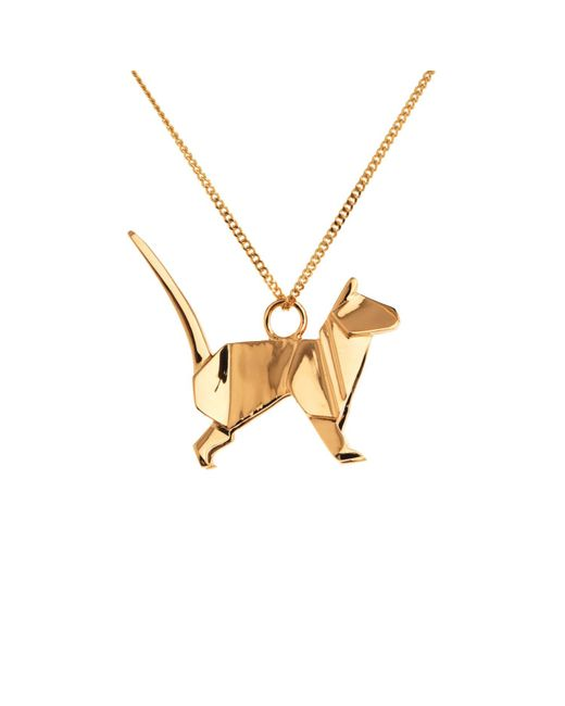 Origami Jewellery | Metallic Cat Necklace Gold | Lyst