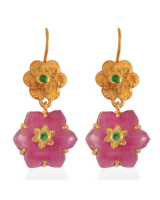 Emma Chapman Jewels - Red Lalitha Ruby Tsavorite Earrings - Lyst
