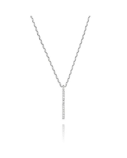 Astrid & Miyu - Metallic Hold On Small Bar Necklace In Silver - Lyst