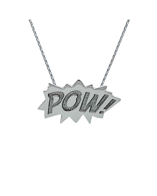 Edge Only - Metallic Pow Pendant Large Long In Silver - Lyst