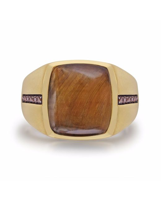 LMJ - Metallic Chatoyant Yellow Tiger Eye Stone Ring for Men - Lyst