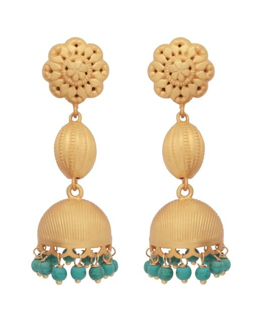Carousel Jewels - Metallic Gold & Turquoise Chandelier Long Earrings - Lyst