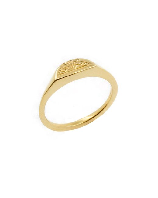 No 13 - Metallic Moon Signet Ring Gold - Lyst