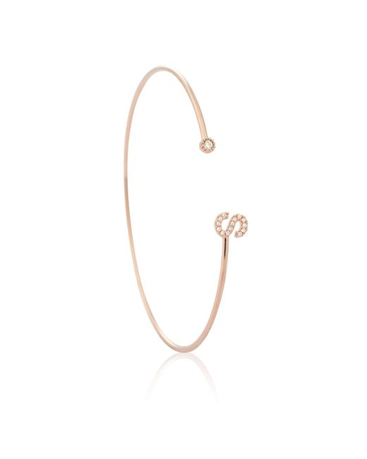 Astrid & Miyu - Multicolor Rose Gold Initial 's' Bangle - Lyst