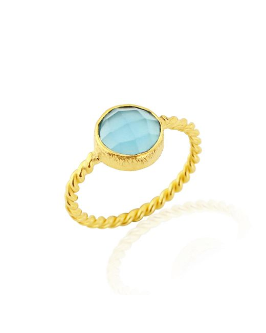 Auree Jewellery - Metallic Palma Twisted Yellow Gold Vermeil & Cerulean Ring - Lyst