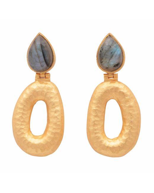 Carousel Jewels - Metallic Matte Gold Finish Labradorite Earrings - Lyst