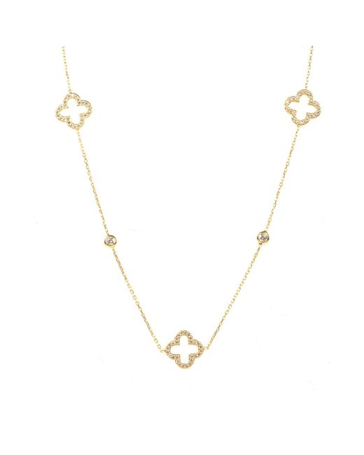 Latelita London - Metallic Open Clover Long Necklace Gold - Lyst