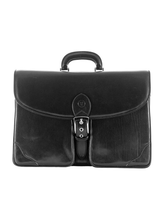 Maxwell Scott Bags | Tomacelli 3 Luxury Italian Leather Men's Briefcase Night Black for Men | Lyst