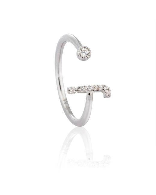 Astrid & Miyu - Metallic Silver Initial J Ring - Lyst