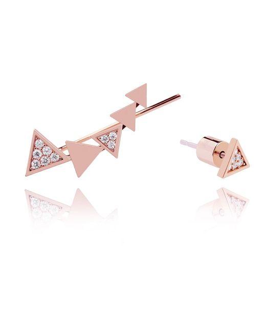 Astrid & Miyu - Pink Black Magic Triangle Earrings In Rose Gold - Lyst