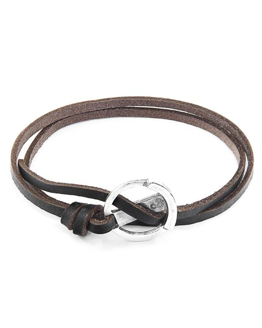 Anchor & Crew - Metallic Dark Brown Ketch Anchor Silver & Flat Leather Bracelet for Men - Lyst