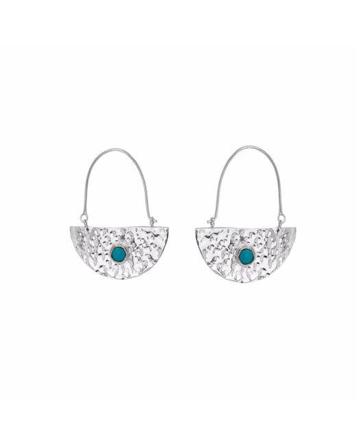 Yvonne Henderson Jewellery | Metallic Silver Semi Circle Boho Drop Earrings With Turquoise | Lyst