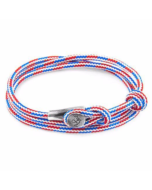 Anchor & Crew - Blue Dash Clyde Silver & Rope Bracelet for Men - Lyst