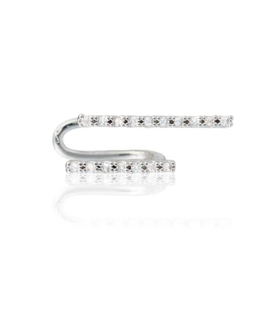 Astrid & Miyu - Metallic Two-timer Diamante Ear Cuff In Silver - Lyst