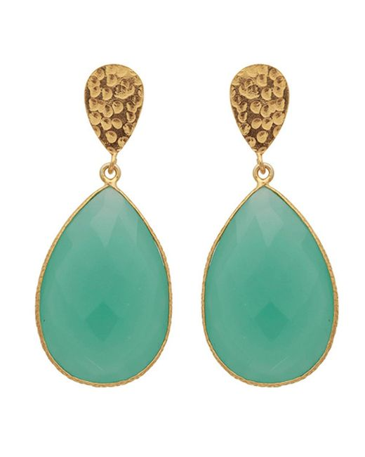 Carousel Jewels | Blue Double Drop Aqua Chalcedony & Golden Nugget Earrings | Lyst