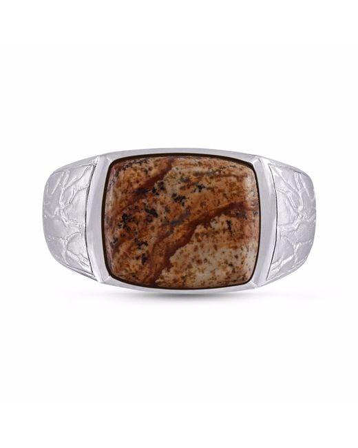 LMJ - Brown Picasso Jasper Stone Ring for Men - Lyst