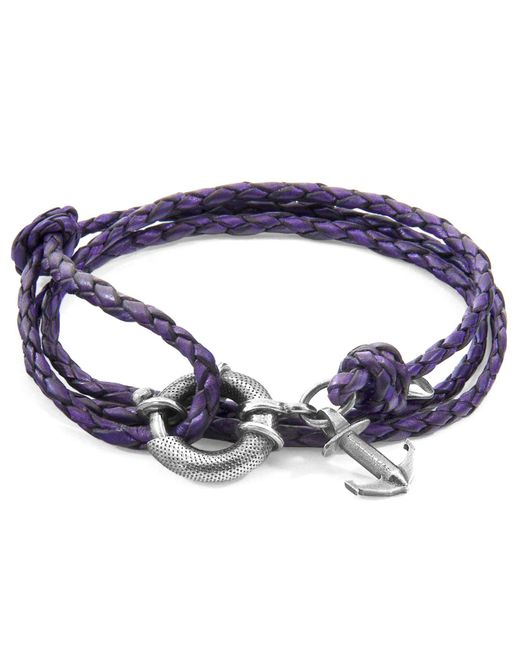 Anchor & Crew - Metallic Grape Purple Clyde Anchor Silver & Braided Leather Bracelet for Men - Lyst