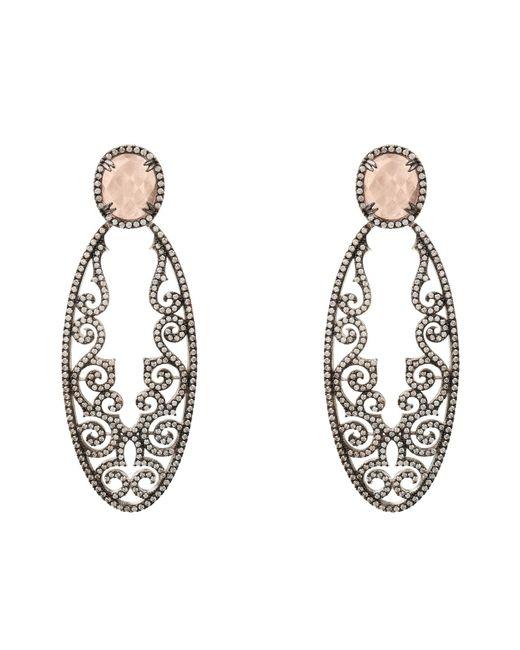 Latelita London | Metallic Jasmine Rose Quartz Gemstone Earring Oxidised | Lyst