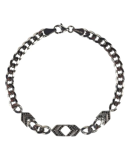 Latelita London - Metallic Mens Arrow Chevron Bracelet Oxidised Sterling Silver for Men - Lyst