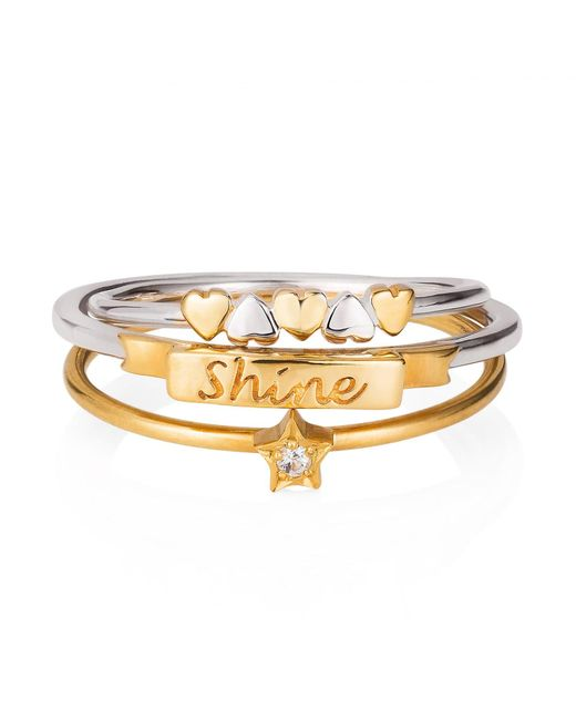 Lee Renee - Metallic Shine Like A Star Hearts Stack Ring - Lyst