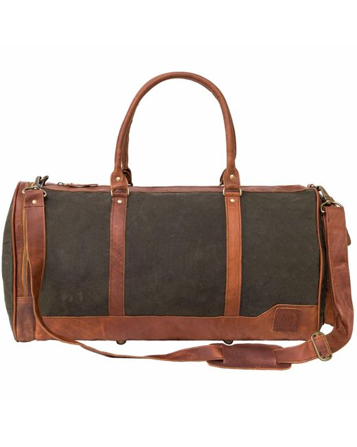 MAHI Leather - Canvas Leather Columbus Holdall/duffle Weekend/overnight Bag In Forest Green for Men - Lyst