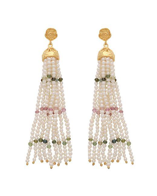 Carousel Jewels | Multicolor Pearl Rose Quartz & Green Onyx Waterfall Earrings | Lyst