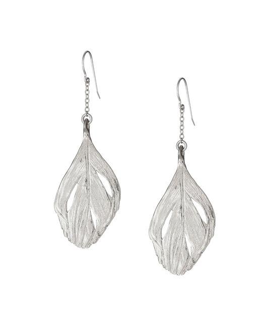 Chupi - Metallic Maxi Swan Feather Earrings Silver - Lyst