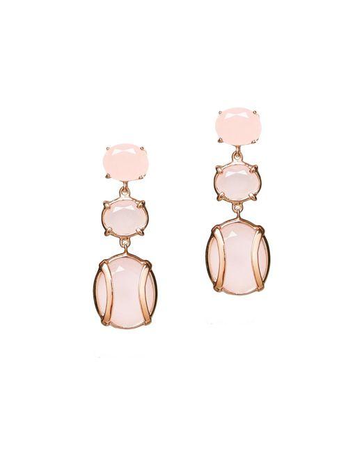 Alexandra Alberta - Pink Yellow Gold Plated Lexington Earrings With Rose Quartz - Lyst